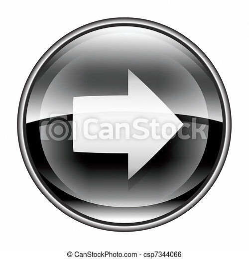 Arrow right icon black, isolated on white background. - csp7344066
