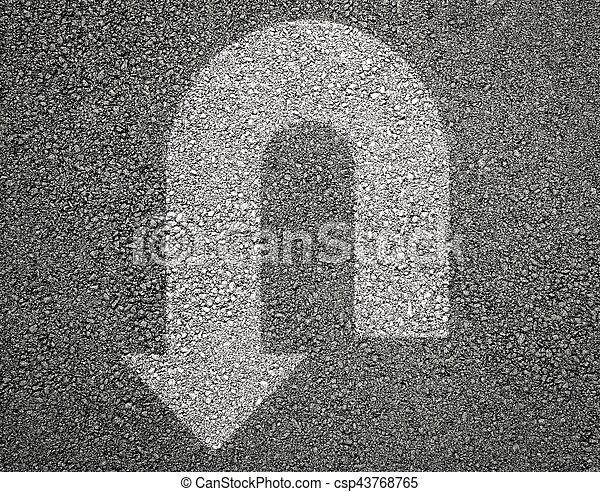 Arrow u turn sign on asphalt - csp43768765