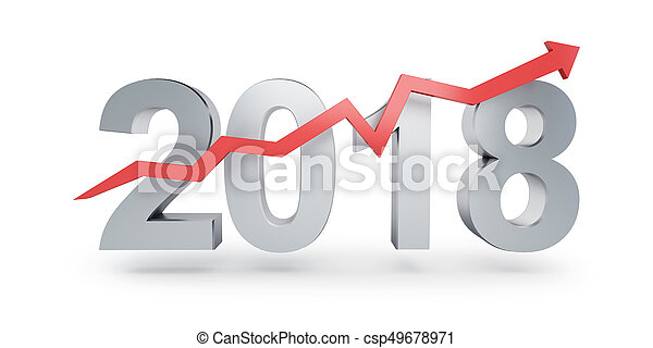 Arrow up for 2018 on a white background 3D illustration, 3D rendering - csp49678971