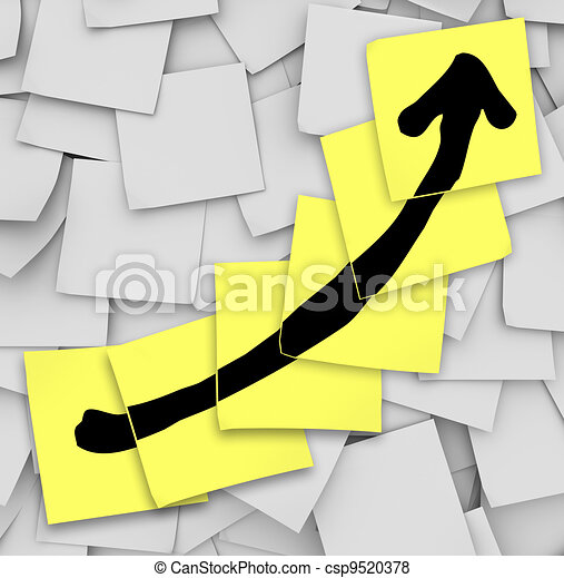 Arrow Up Tracking Growth Success Sticky Notes - csp9520378