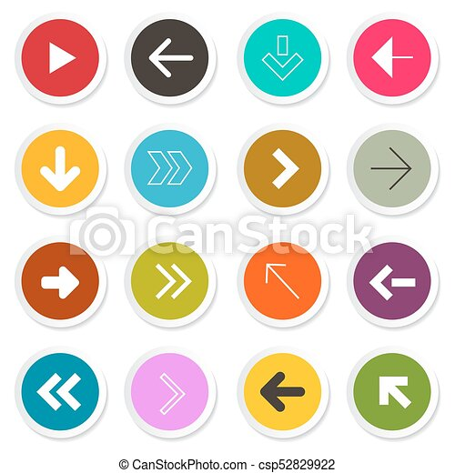 Arrow. Vector Set. Arrows in Colorful Paper Circles. - csp52829922