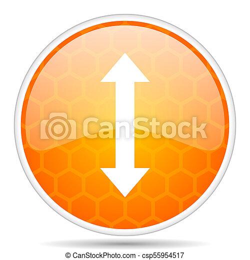 Arrow web icon. Round orange glossy internet button for webdesign. - csp55954517