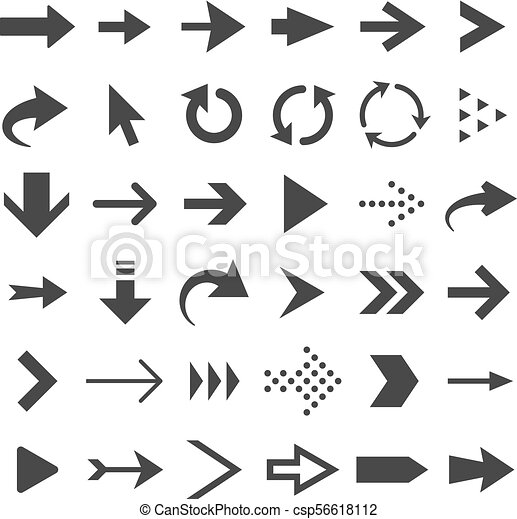 Arrow Web Icons Isolated Cursor Arrows Download And Next Page Navigation Buttons Vector Set