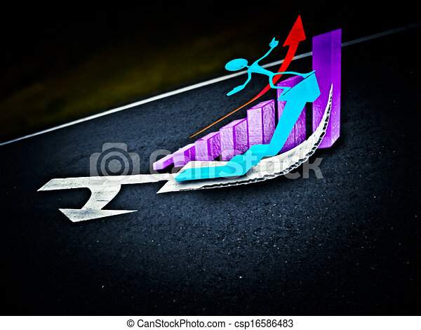 Arrows are marked on a highway to show direction, Success Concept - csp16586483