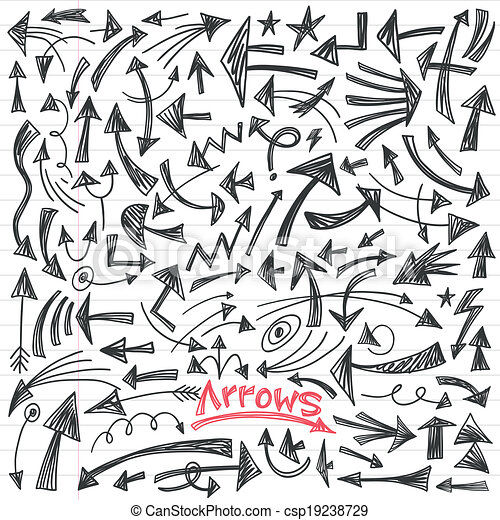 arrows - doodles set - csp19238729