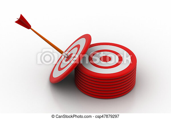 Arrows hitting on the target board - csp47879297