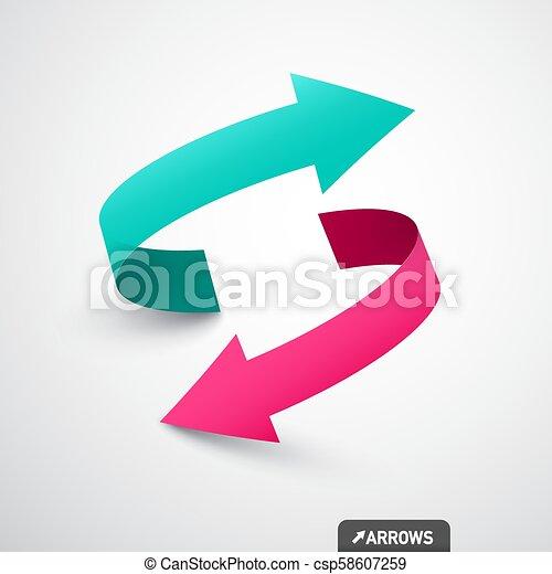 Arrows Logo Concept. Double Arrow Symbol. Vector 3d Icon. - csp58607259
