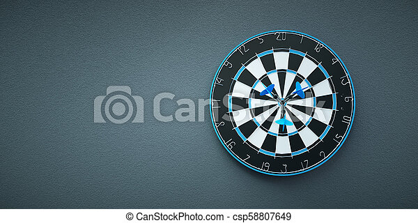 Arrows on target dart on grey background - csp58807649