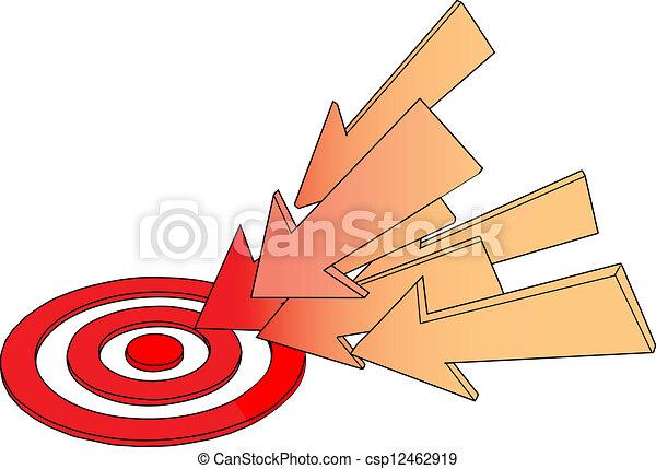 Arrows point at hot target drawing - csp12462919