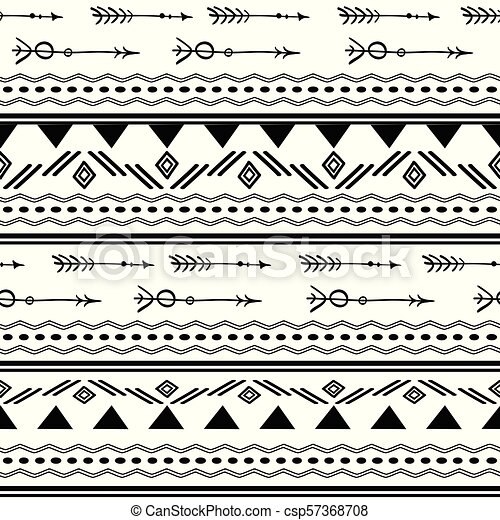 Arrows Tribal Black And White Seamless Vector Clipart Csp57368708
