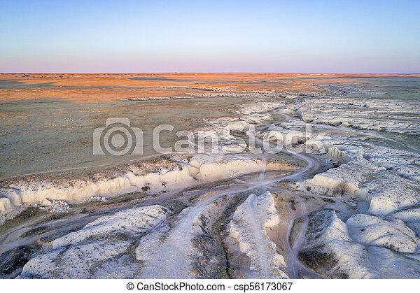 arroyo in northern Colorado prairie - csp56173067
