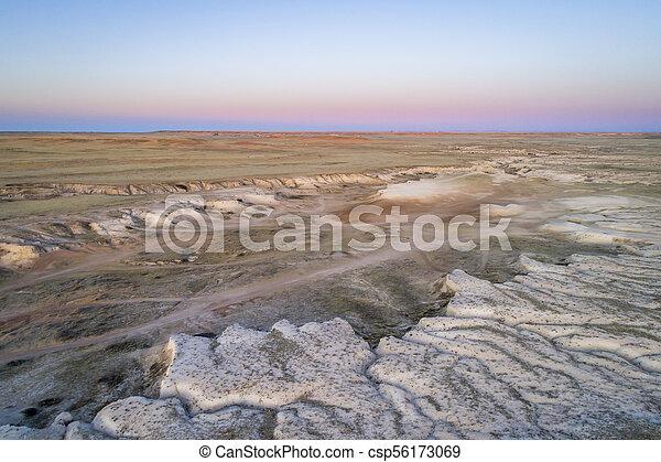 arroyo in northern Colorado prairie - csp56173069