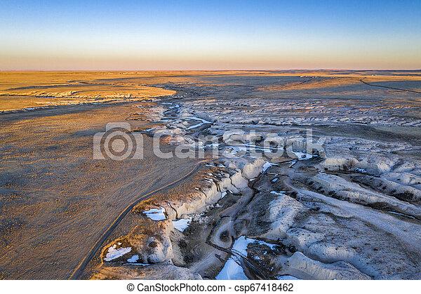arroyo in northern Colorado prairie - csp67418462