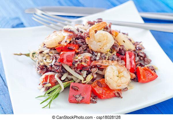 arroz, frito, camarones - csp18028128