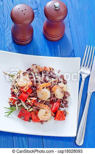 arroz, frito, camarones - csp18028093