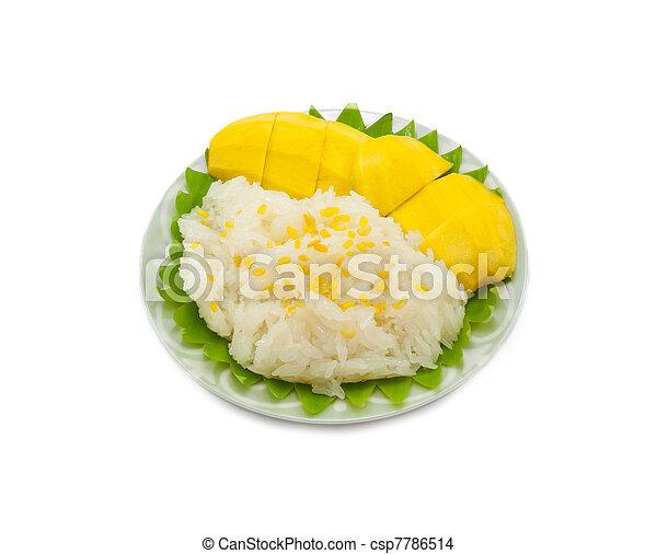arroz, pegajoso, manga - csp7786514