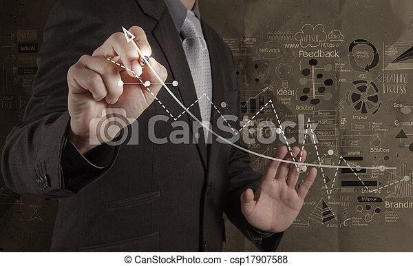 arrugado, concepto, computadora, empresa / negocio, trabajando, moderno, hombre de negocios, mano, papel, plano de fondo, nuevo, dibujado, estrategia - csp17907588