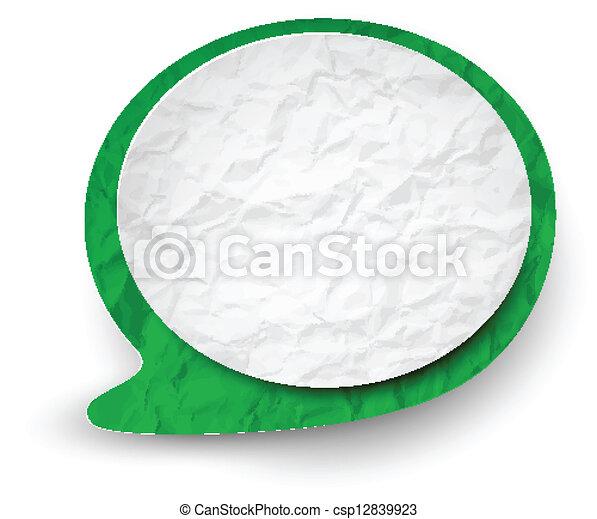Burbuja de habla verde blanco y arrugado. - csp12839923
