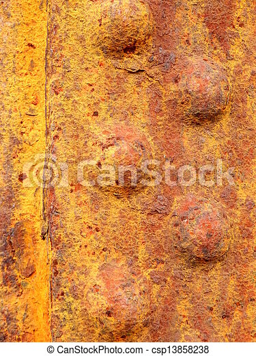 arrugginito, metallo, rivetted - csp13858238