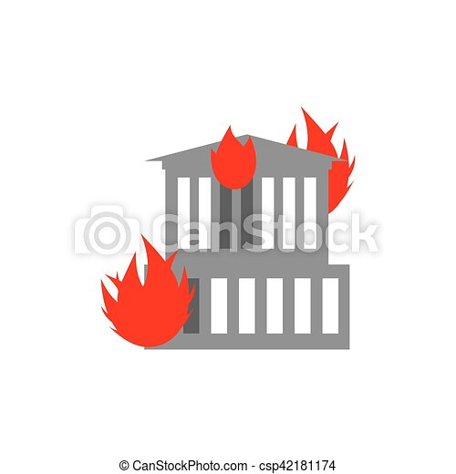 Arson home. Fire in building. Flames from office windows. Burn facility. Spontaneous disaster. Apocalypse on earth - csp42181174