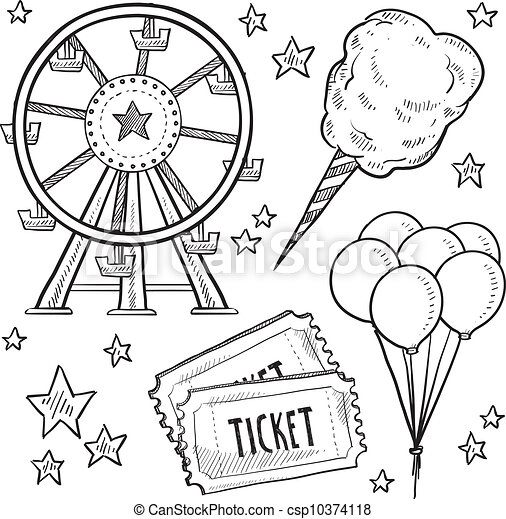 Dibujo de artículos de carnaval - csp10374118