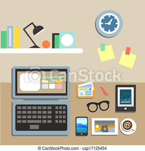 Clip art vectorial de art culos conjunto lugar de for Imagenes de articulos de oficina