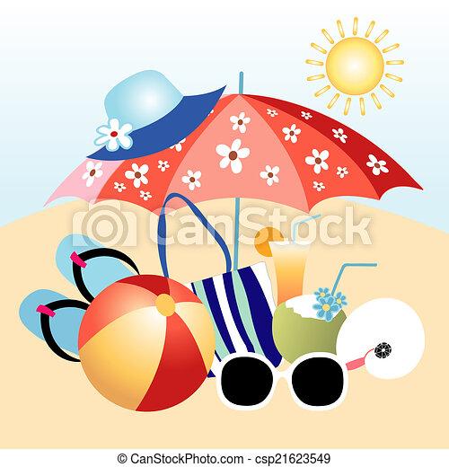 artículos playa feriado diferente objetos playa brillante