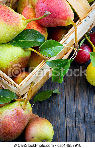 Art abstract design background  fruits on a wooden background - csp14957918