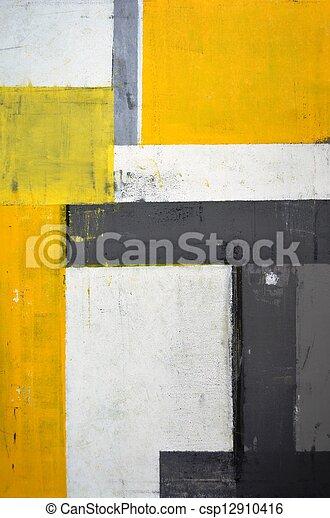 art abstrait, gris, jaune - csp12910416