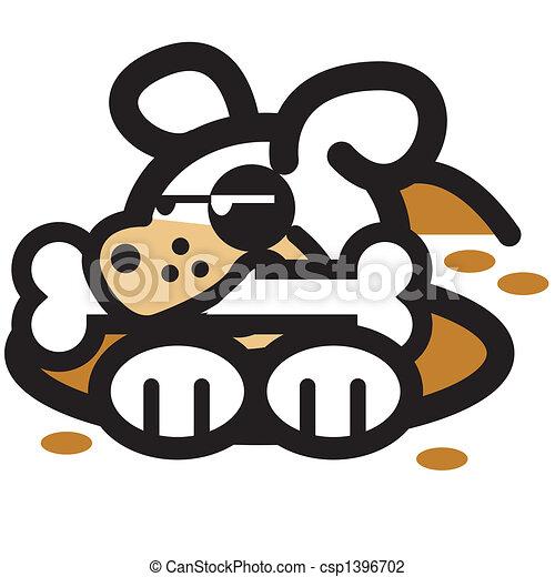 art, agrafe, &, chien, dessin animé, os - csp1396702