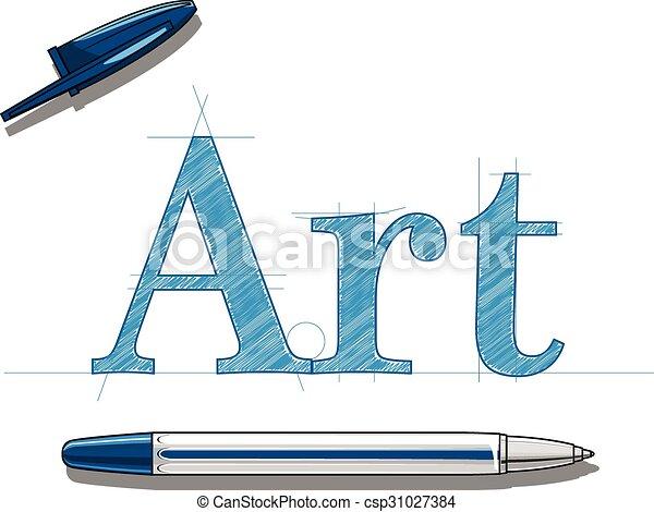 Art and ball-pen - csp31027384