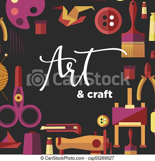 Art And Craft Vector Poster For Diy Handicraft And Handmade Workshop