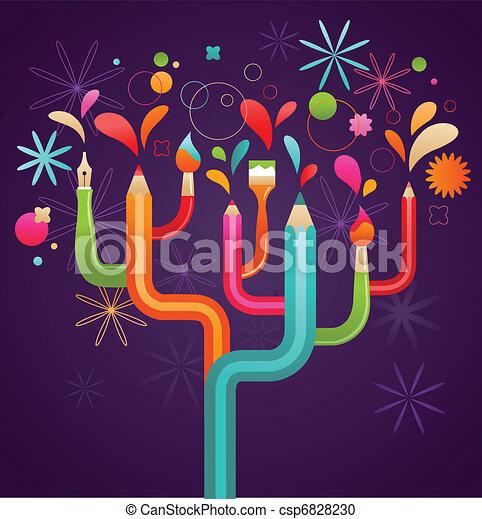 art and creation tree, concept illustration - csp6828230