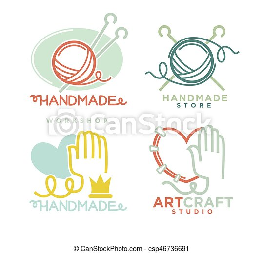 Art And Handmade Craft Logo Templates Flat Set Vector Posters For
