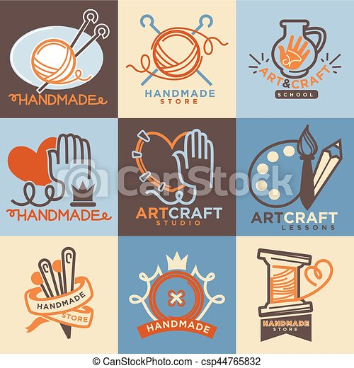 Art And Handmade Craft Store Or School Icons Templates