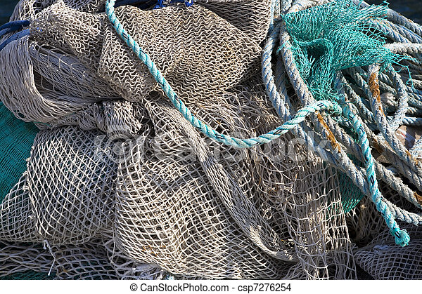art background, fishing net on the ship - csp7276254