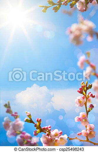 art Beautiful spring blossoming tree on sky background - csp25498243