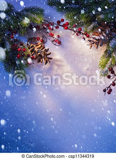 art Blue snow Christmas background, frame ??of fir branches - csp11344319