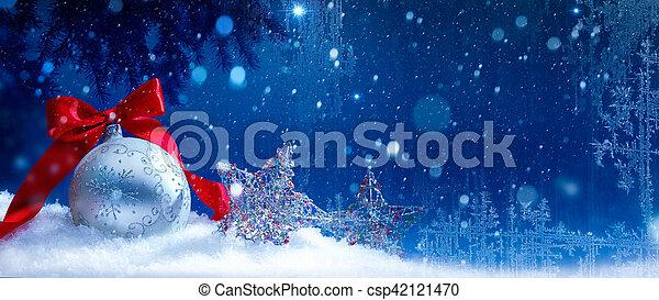 art blue snow christmas background - csp42121470