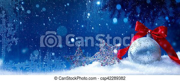 art blue snow christmas background - csp42289382