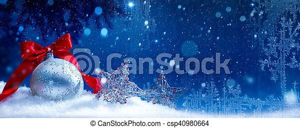 art blue snow christmas background - csp40980664