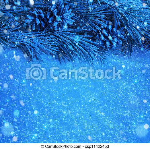 art Blue snow Christmas background - csp11422453