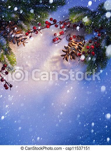 art Blue snow Christmas background, frame ??of fir branches - csp11537151