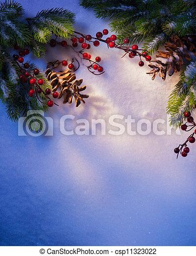 art Blue snow Christmas background, frame ??of fir branches - csp11323022