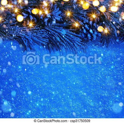 art Blue snow Christmas background - csp31750509