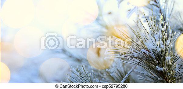art blue snowy Christmas tree; winter holiday background - csp52795280