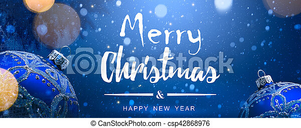 art christmas decoration on blue snow background - csp42868976