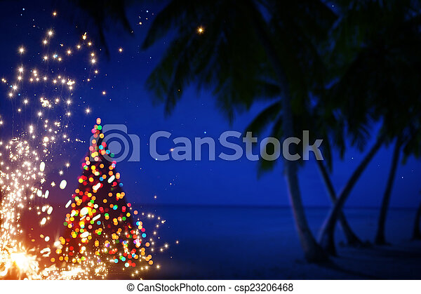 Art Christmas in Hawaii with Palm Trees and Stars  - csp23206468