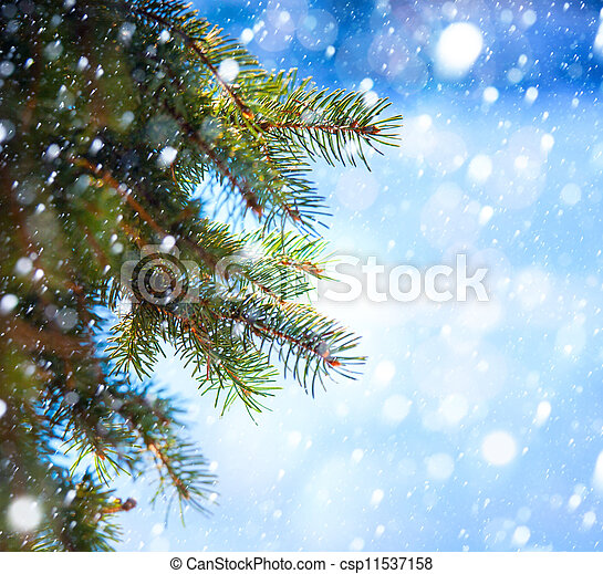 Art Christmas tree branch and snow fall - csp11537158