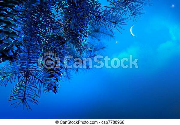Art Christmas tree branch on a blue night sky background - csp7788966